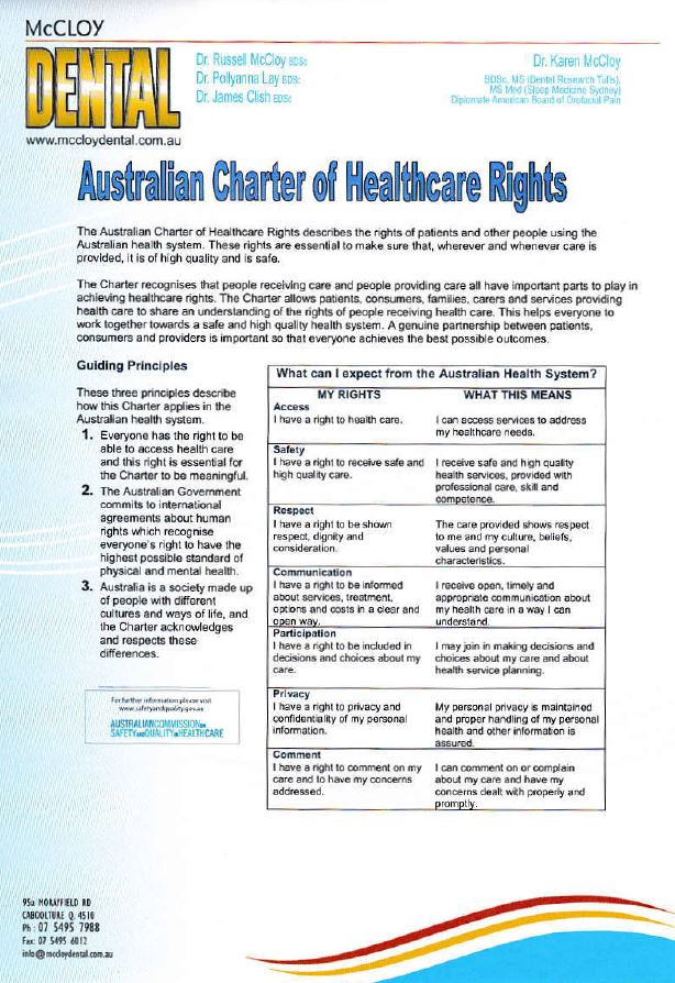 Aust. Charter of Healthcare Rights